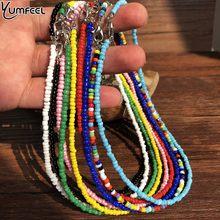 Yumfeel boêmio feito à mão gargantilhas boho doce cor semente contas colar moda feminina jóias
