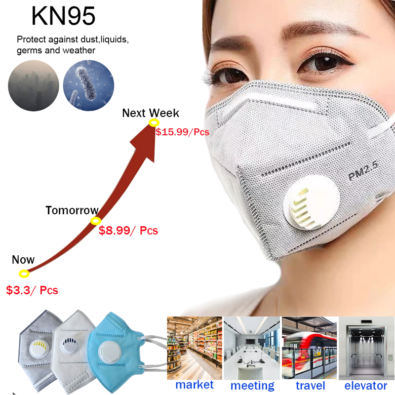 Face Mask KN95 Respirator Valve Disposable Folding Valved Dust  PM2.5 Anti Virus Bacteria Proof Face Mouth Mask Safe Breathable