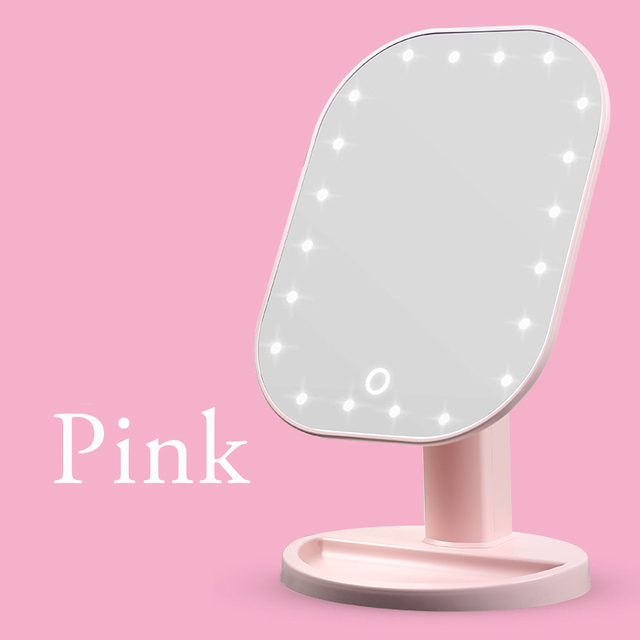 Touch Dimmer LED Mirror Touch Screen Makeup Mirror Luxury Mirror With 20 LED Lights 180 Degree Adjustable Table MakeUp Mirror 5