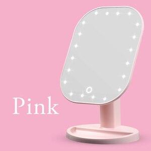 Image 5 - مرآة فاخرة مع 20 LED أضواء 180 درجة طاولة قابلة للضبط مرآة لوضع مساحيق التجميل لمسة باهتة LED مرآة شاشة تعمل باللمس مرآة لوضع مساحيق التجميل
