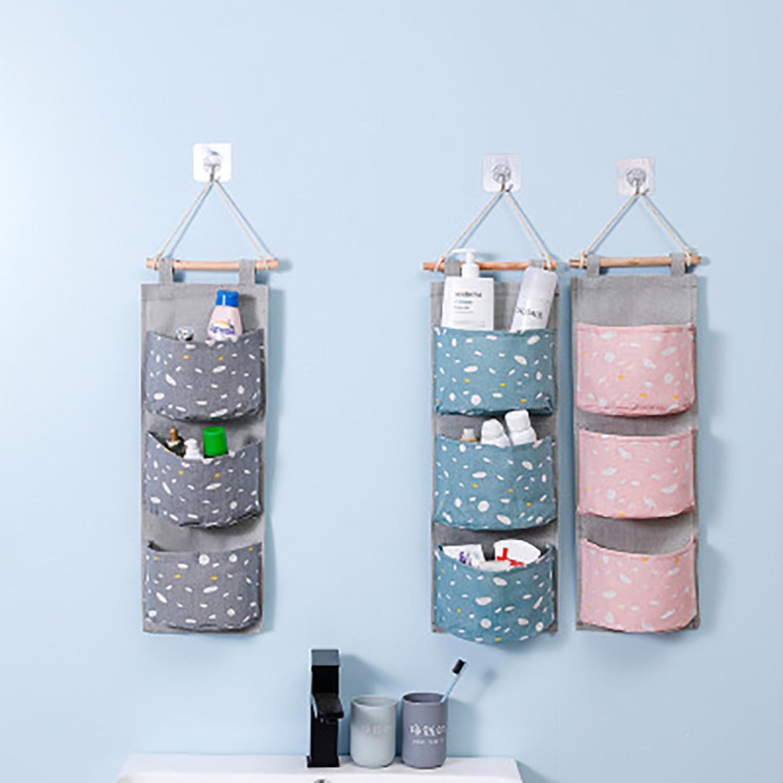 Bolsa colgante decorativa para pared, colgador de 3 bolsillos, para baño y bebé, plegable, de almacenamiento