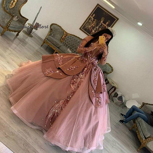 Dusty Pink Princess Quinceanera Dresses 2020 With Rose Gold Sequin Long Sleeve Sweet 16 Puffy Pageant Dress Vestidos De 15 Años