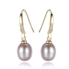 YUEYIN 925 Silver Earrings 8-9mm Pearl 18K Gold Plated Dangle 2019 Charming Classic  Women White Pink Purple