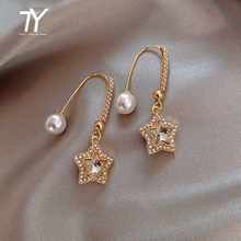 Unusual Earrings Party Jewelry Sexy-Accessories Pearl Crystal-Pentastar Fashion Luxury