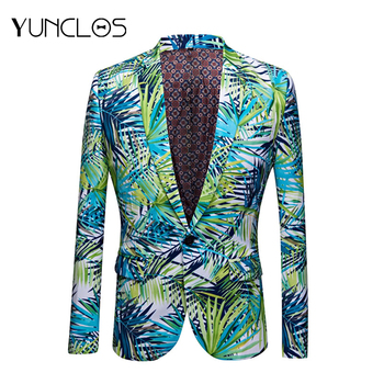 YUNCLOS New Design Blue Green Pattern Blazers Jackets Party-dress Tuxedos Blazers Casual Life Color Blazers Suit Jackets XS-2XL
