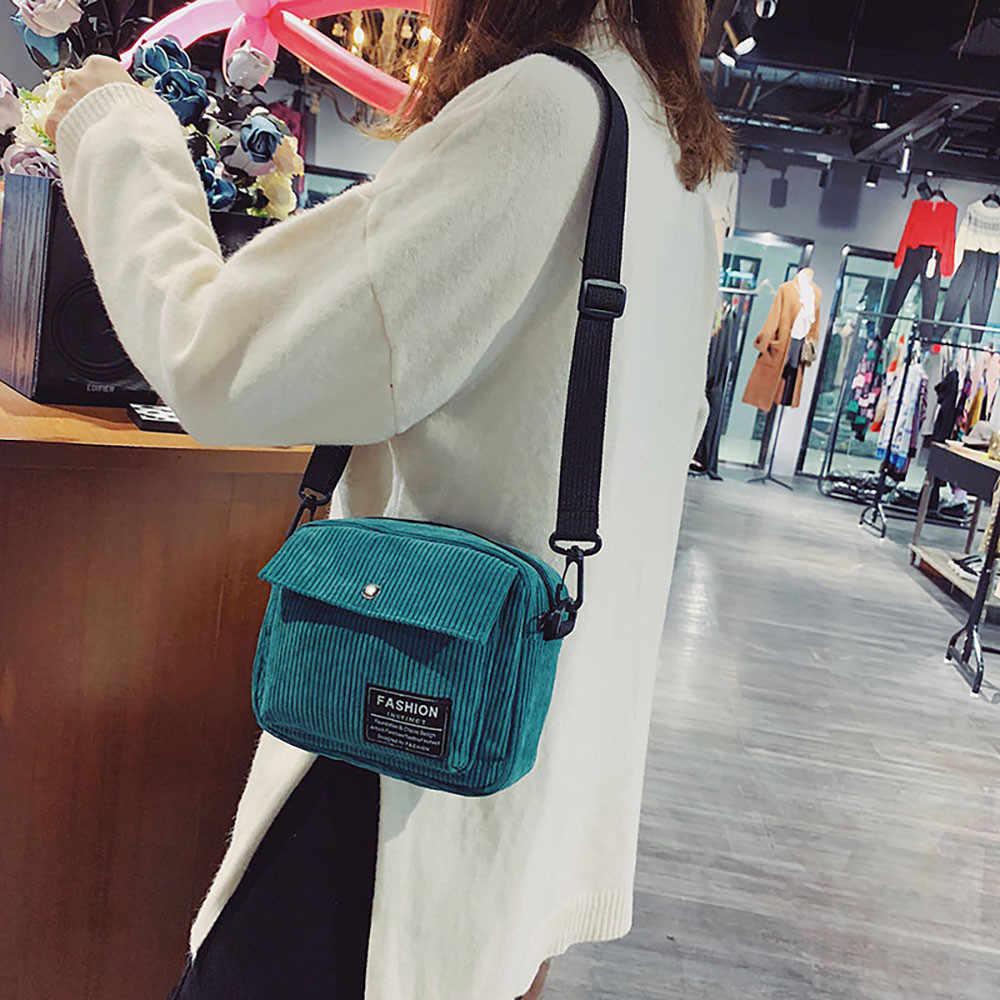 Women Canvas Single Shoulder Messenger Bag Handbag Crossbody Small Square Bags Corduroy Bag les sacs des femmes #3J