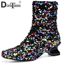 DORATASIA Brand New Big Size 33-45 Bling Ladies Strange Style Shoes Woman Casual Party Autumn Spring Luxury Ankle Boots Women