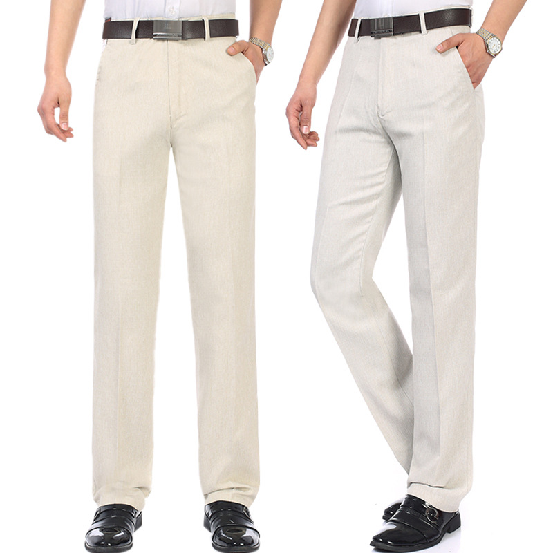 Middle-aged Casual Pants Men's Trousers Spring Summer Thin Section Dad Pants Men's Loose-Fit Trousers Middle-aged Cotton
