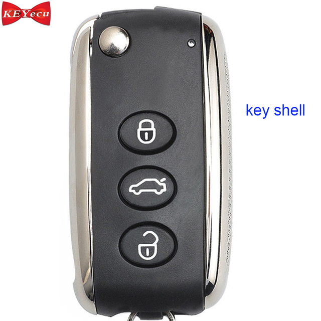 Boîtier de clé pour Bentley Arnage Continenta | * l Mulsanne, coque de clé de voiture à distance, couvercle de boîtier de Fob 3 boutons pour KR55WK45032