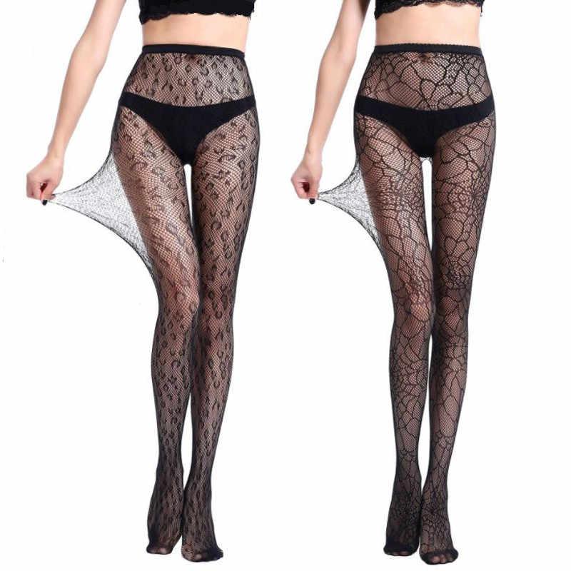 Fashion Leopard Seksi Stoking Wanita Hollow Keluar Pantyhose Stoking Jala Elastis Mesh Cetak Hitam Ketat Pinggang Tinggi Pantyhose