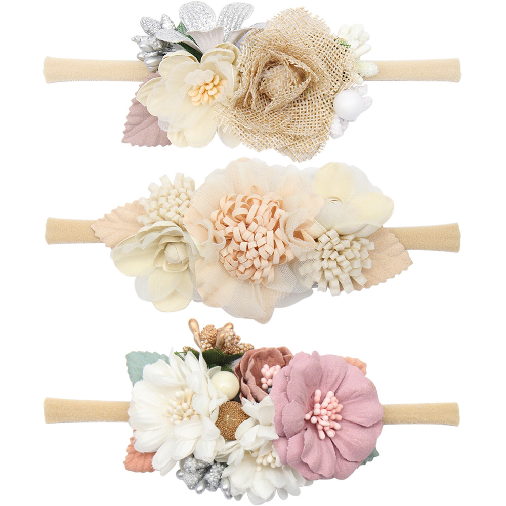Linen Flower Headband Elastic Nylon Hair Band Newborn Party Gift Photography Props Boutique Headwear Baby Hair Accessories