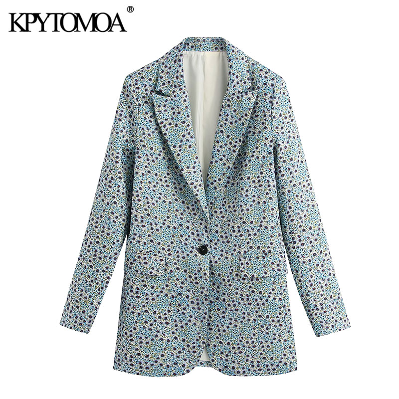 KPYTOMOA Women 2020 Fashion Office Wear Floral Print Blazer Coat Vintage Long Sleeve Back Vents Female Outerwear Chic Tops