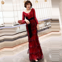 Evening Dress Long Sleeve Women Party Dresses Sequin Tassel Robe De Soiree 2019 V-neck Backless Floor Length Formal Gowns F196