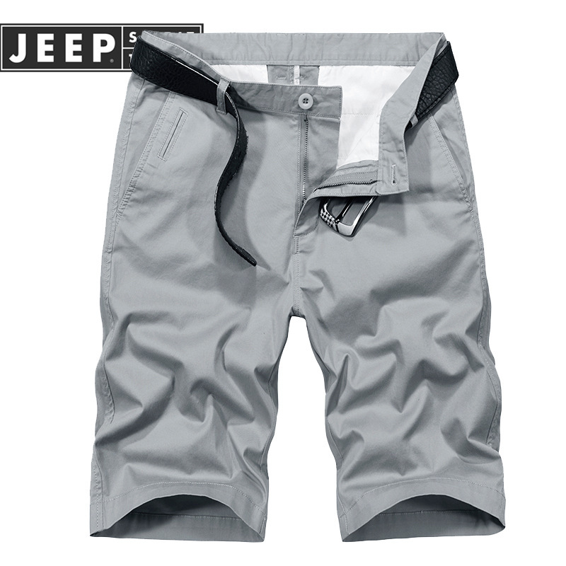 JEEP SPIRIT Summer Short Men Fashion Solid Color Mid-waist Mens Shorts Plus Size 29-42 Short Homme No Belt