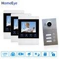 4 ''4-проводной видеодомофон 3-квартиры система контроля доступа двери для 3 отдельных семейных дверной звонок Водонепроницаемый