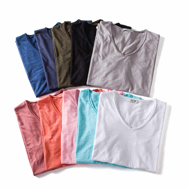 2020 뉴 여름 10 색 v 넥 티셔츠 남성 100% 콤비네이션 코튼 솔리드 반소매 티셔츠 남성 피트니스 언더 셔츠 남성상의 티셔츠