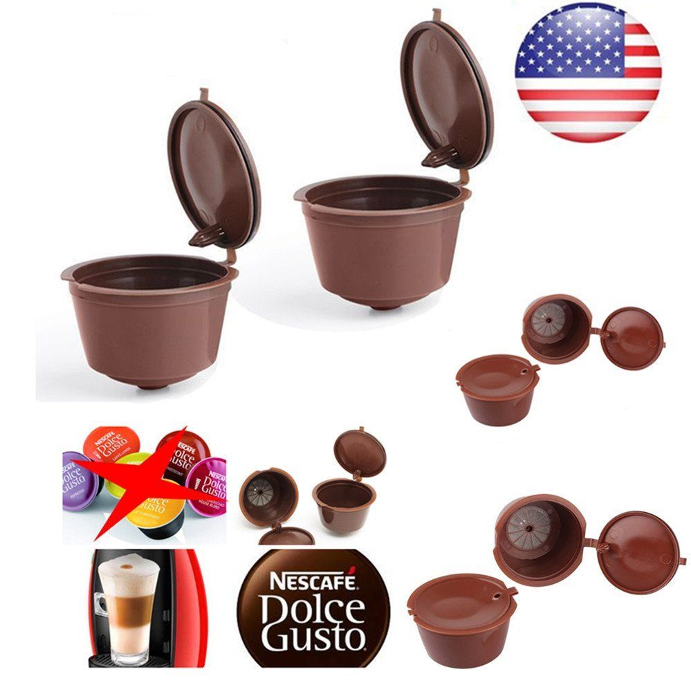 3 pcs Reusable Nescafe Dolce Gusto Coffee Capsule Filter Cup Refillable Caps Spoon Filter Baskets Pod Soft Taste Sweet(China)