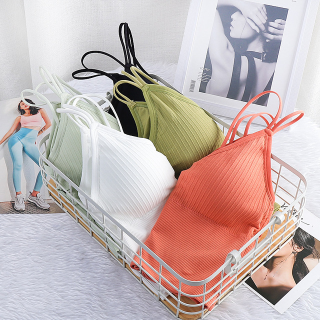 Women's Sexy Seamless Crop Tops Sports Bra Tube Top Camisole With Removable Padded Underwear Female Tank Top 6