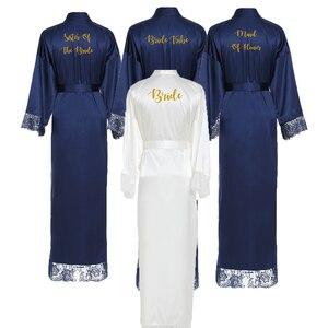 Image 2 - Owiter Long Silk Satin Robe Bridesmaid Robes w/ Lace Trim Robe Bridal Wedding Robe Sleepwear Bathrobe Long Gowns for Women Blue