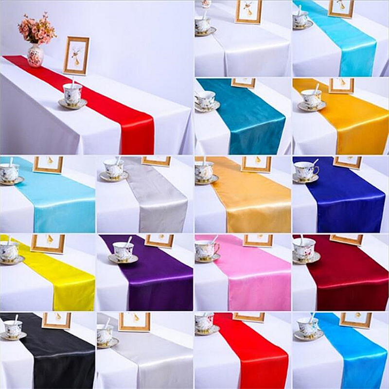 Vintage Multi Color  White Christmas White Blue Satin Country Event Party Supplies Wedding Decoration Tablecloth Table Runner