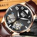 Dubbele Tourbillon Horloges AILANG mannen Automatische Horloge Self-Wind Fashion Mannen Mechanische Horloge Lederen Relogio Masculino