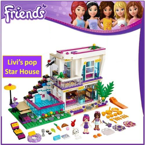 Dropshipping Model building kits Compatible with 41135 girl Friends Livi's Pop Star House 644Pcs Emma Mia 3D Bricks Figure toys image