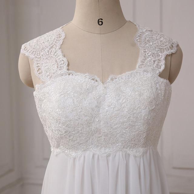 Cheap Beach Wedding Dresses Vestido De Noiva Cap Sleeve Sweetheart Empire Chiffon Bridal dress Lace Pregnant Weding Dress 6