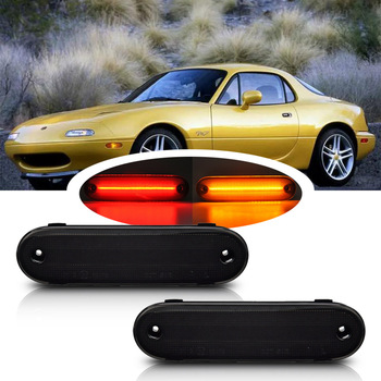 Smoked Front Amber /Rear Red LED Side Marker Light Signal Lamp For Mazda Miata NA NB MX-5 1990-2005 Driver Corner/Park Lamp image