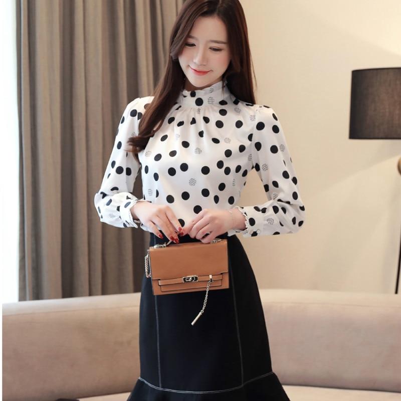 Plus size 2019 Autumn Fashion Women Chiffon Shirts Long Sleeve Polka Dot ruffless Women Blouses Casual Stand Collar Women Tops 3