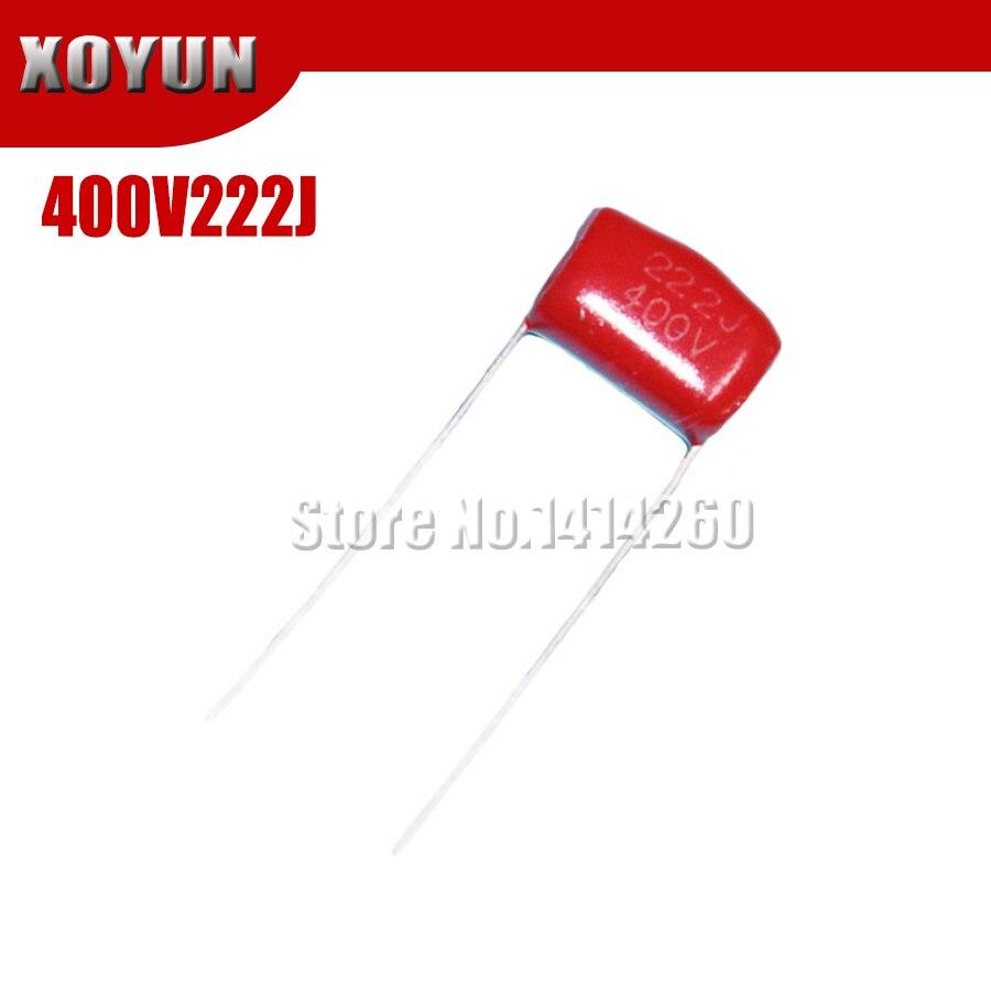 10PCS 400V222J 400V2.2NF 400V2200PF 0.0022UF Pitch 10mm 400V 222J CBB Polypropylene Film Capacitor