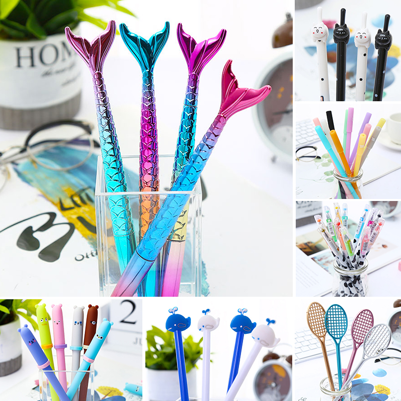 Korean Cute Kawaii Cactus Gel Pens Funny Flamingo Unicorn Mermaid Glitter Colors Black Cat Constellation Stationery School Thing