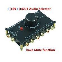 RCA stereo EINGANG audio quelle signal Schalter Switcher Splitter distributor selector box 3 Möglichkeiten IN 1 HERAUS