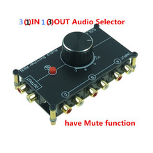 RCA stereo INPUT audio source signal Switch Switcher Splitter distributor selector box 3 Ways IN 1 OUT