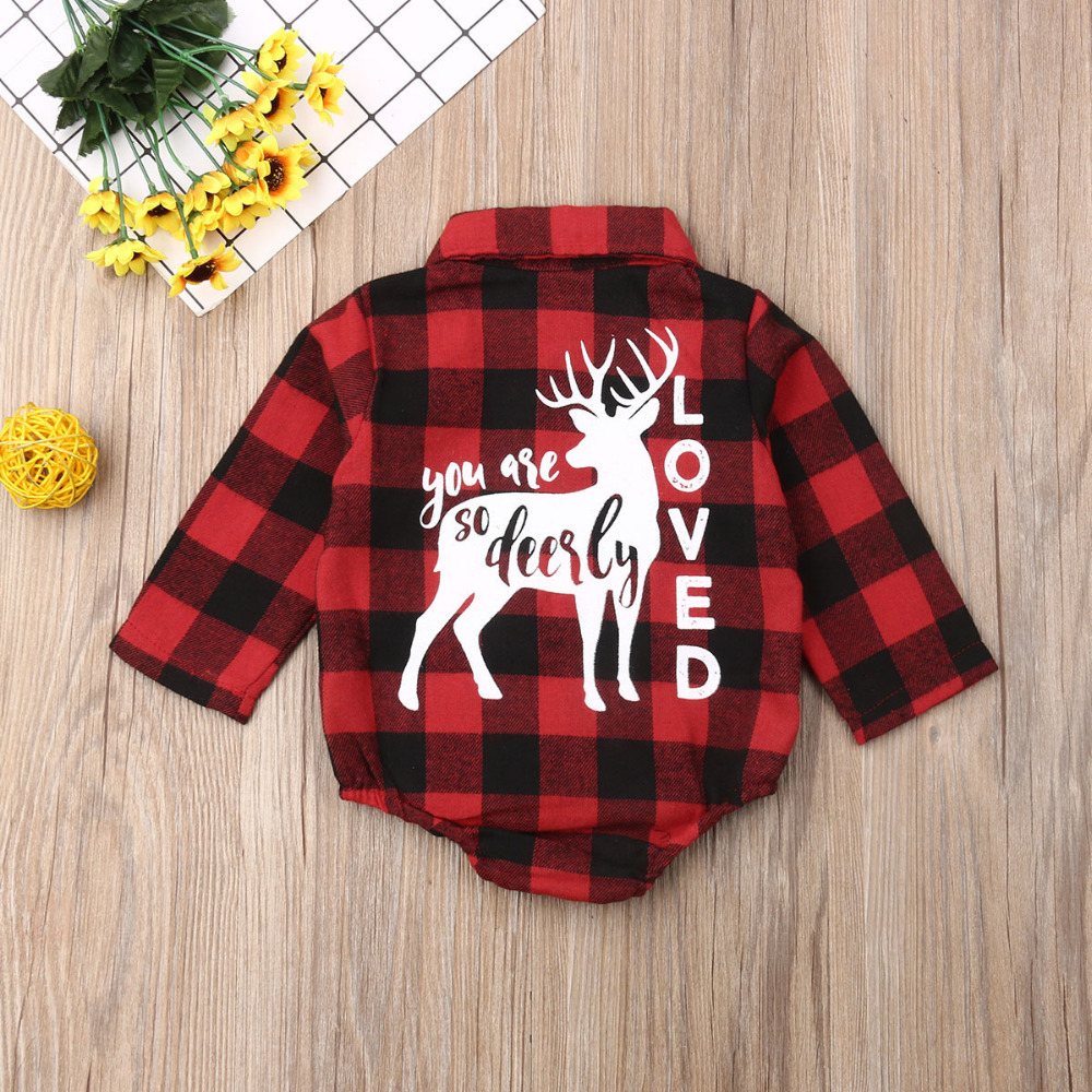 H61ea33157b7242e08ebdc3293aa15eb31 Pudcoco Baby Girls And Boys Unisex Clothes Christmas Plaid Rompers Newborn Baby 0-18 Monthes Fits One Piece Suit Cartoon Elk New