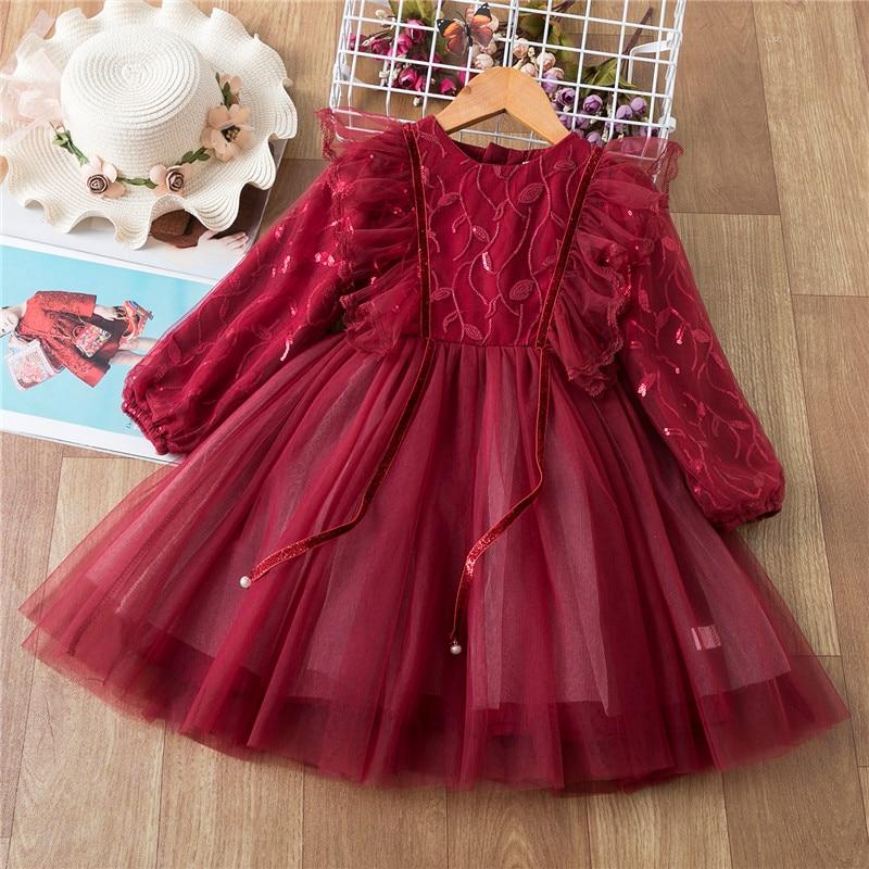 Sequined Flower Girls Christmas Dress Elegant Children Red New Year Costume Kids dresses for Girls Birthday Party Dress Vestidos 1