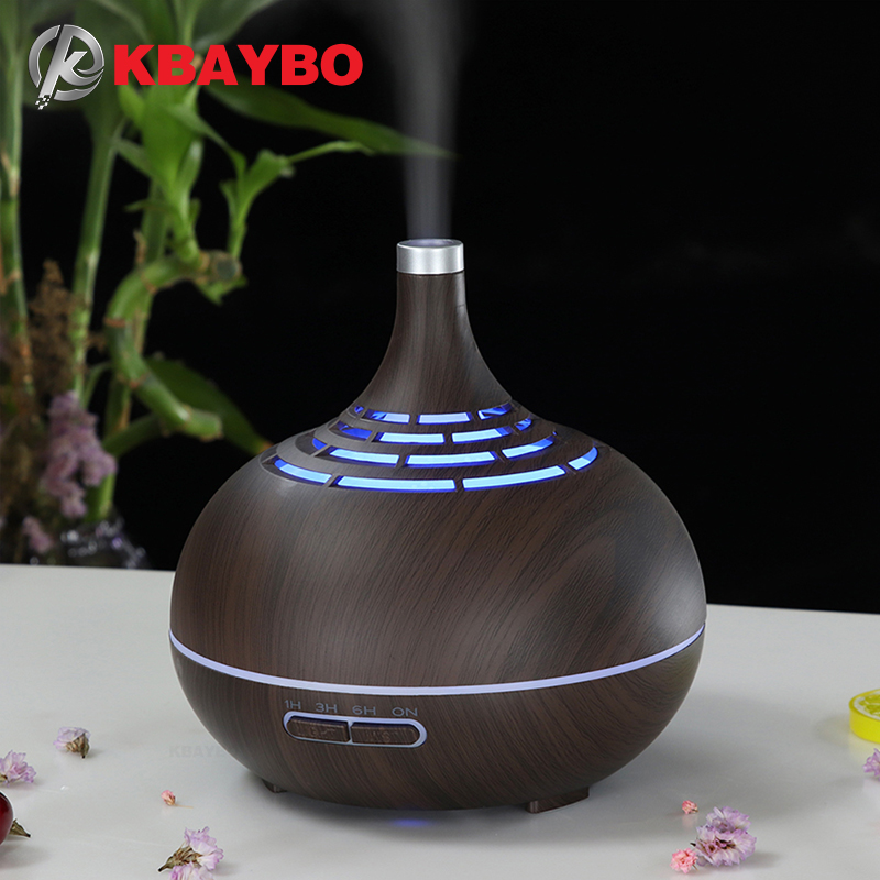 KBAYBO 400ml Aroma Essential Oil Diffuser Electric Ultrasonic Air Humidifier Fogger LED Light Aroma Diffuser Mist Maker For Home