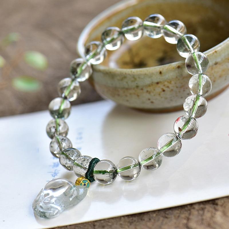 Fine vieille Mine vert fantôme pierre naturelle Bracelets sculpté à la main renard avec perles rondes Bracelets chanceux pour les femmes hommes bijoux de mode
