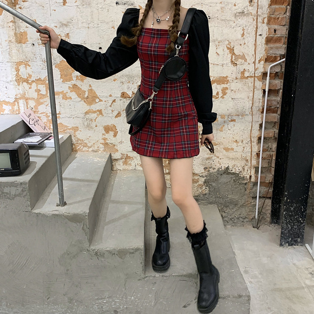 Preppy style Gothic Womens Girls Vintage Plaid Dress Patchwork Puff Sleeve Sexy Party Female Mini Short Dresses 5