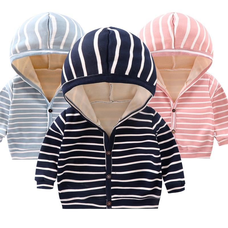 Children's autumn and winter jackets, cotton striped sweater, hooded cardigan, boy jacket, plus velvet, warm baby girl jacket