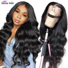 Ishow HD прозрачные кружевные передние парики из человеческих волос предварительно выщипанные 28 30 дюймов 13x6 бразильские волнистые передние во...