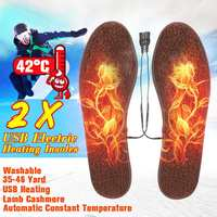 2PCS 5V USB Electric Heated Shoe Insoles Sole Foot Warmer Feet Winter Thermal Heating Insoles Size 35-46