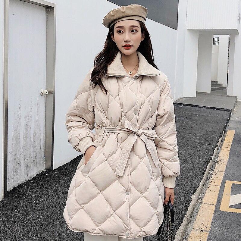 Winter White Duck   Down   Jackets Padded Outwear   Down     Coat   Women Fashion Elegant Sashes Long Parka   Coat   Female
