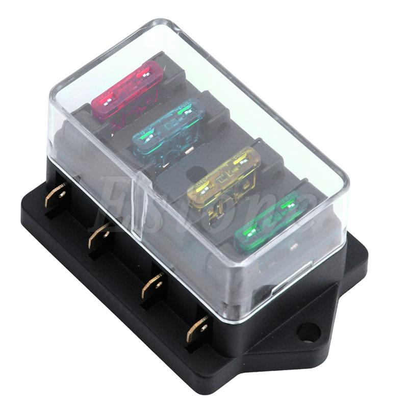 12V/24V 4 Way Car Auto Blade Fuse Box Holder Circuit Standard ATO +4X Fuse