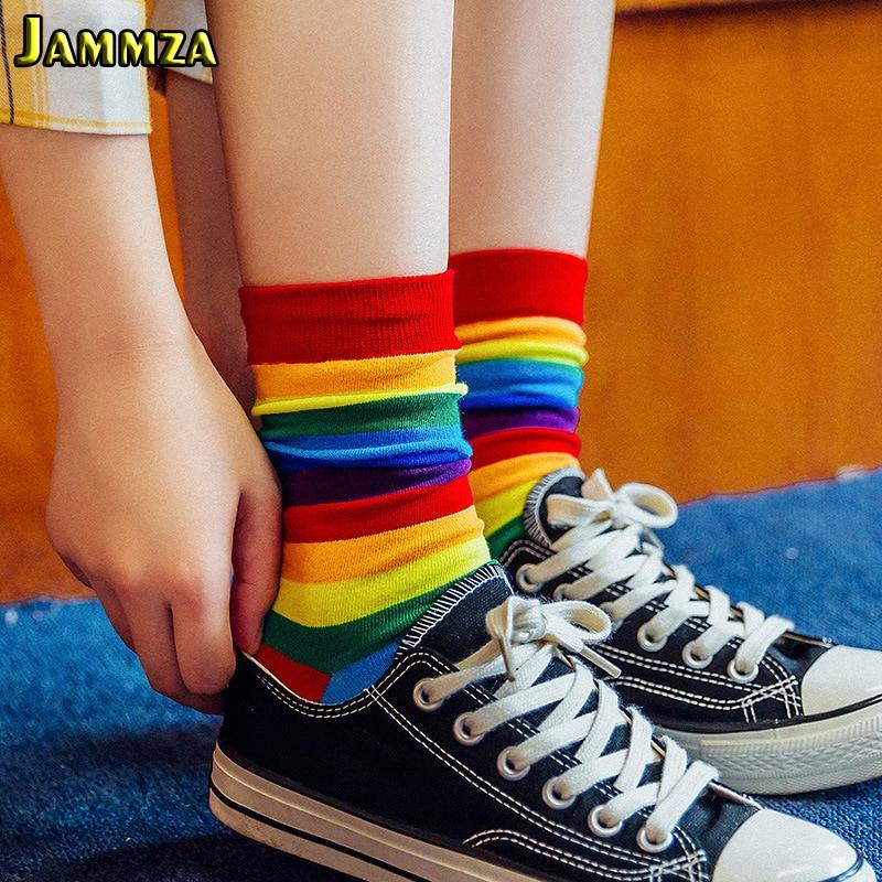 Хлопковые эластичные женские длинные носки, роскошные яркие цвета, радужные полосатые спортивные носки, Meias, повседневные ретро носки в стиле Харадзюку Носки    - AliExpress