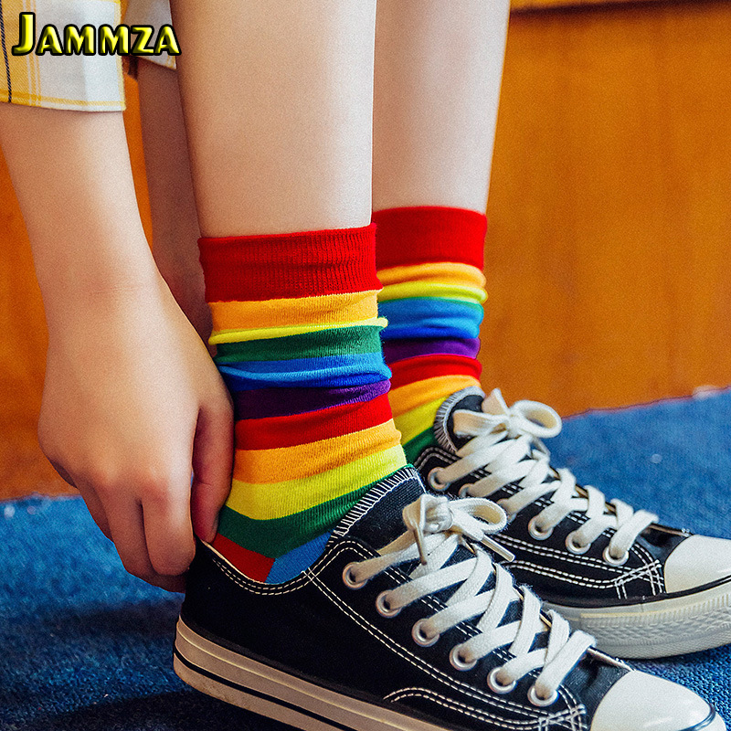 Cotton Elasticity Sweat Women's Long Socks Luxury Candy Color Rainbow Striped Sporty Meias Casual Retro Harajuku Socks