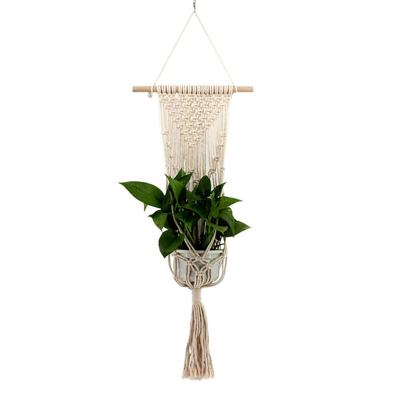Nordic Style Hand-Woven Tapestry Flower Pot Hanging Net Bag Wall Hanging Basket Bohemian Tapestry Wall Hanging