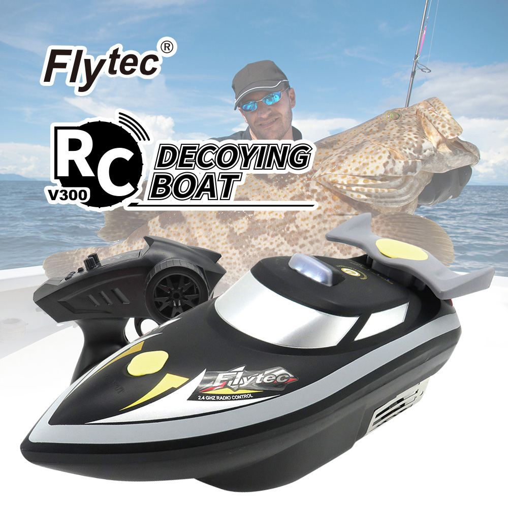 Flytec V300 RC Fishing Boat Fishing Bait Boat 300m Remote Control 2h Battery Life RC Boat with Net Backpack RC Fishing Tools