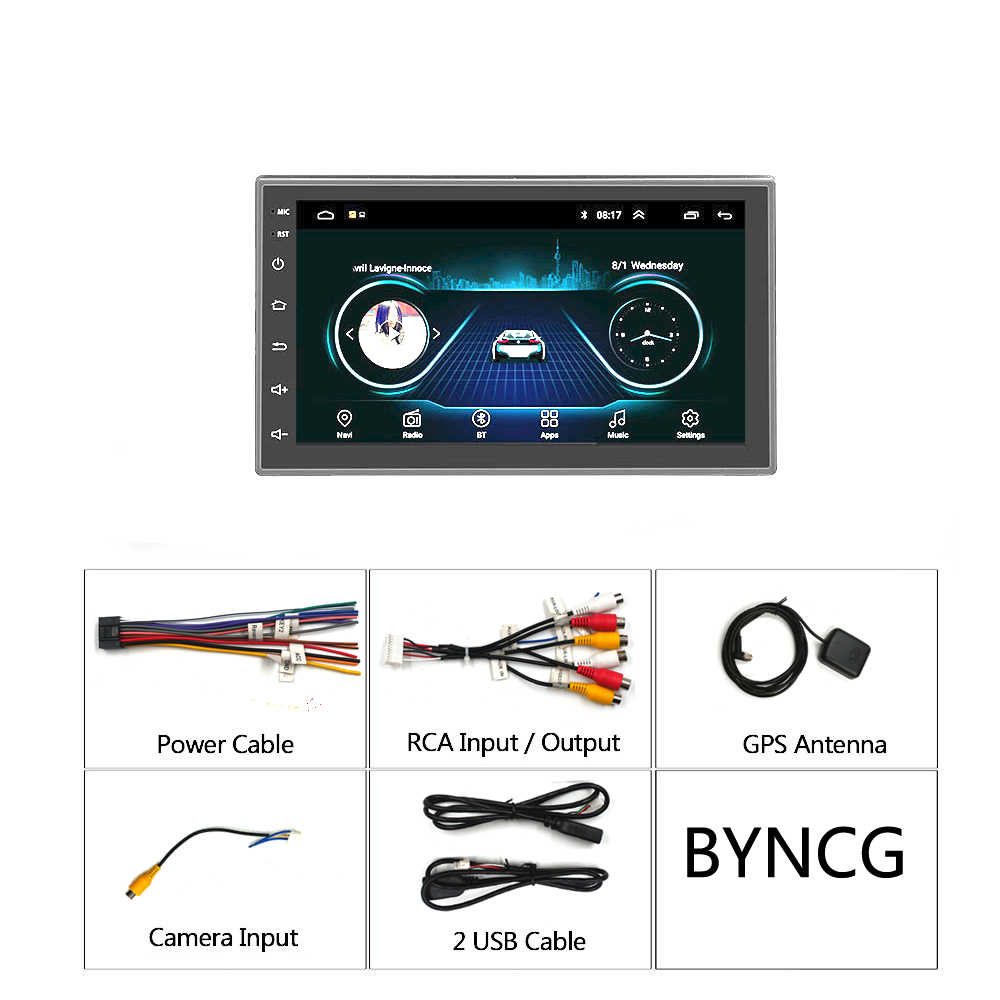 7 inç Android 8.1 evrensel araba radyo 2 din android hiçbir DVD OYNATICI GPS navigasyon WIFI Bluetooth MP5 oynatıcı dikiz kamera