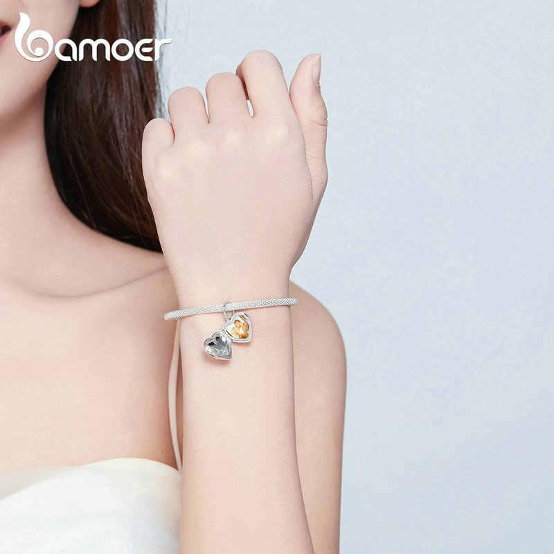 Bamoer ภาพที่กำหนดเองส่วนบุคคลจี้หัวใจ Charm เดิมเงินสร้อยข้อมือและสร้อยคอของขวัญที่กำหนดเองเครื่องประดับ BSC102