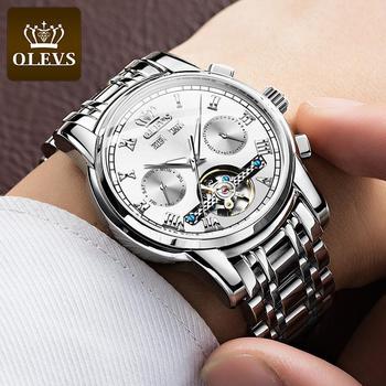 OLEVS Men's Automatic Mechanical Watch Waterproof Business Stainless Steel Strap Watch Skeleton Mechanical Watch 2